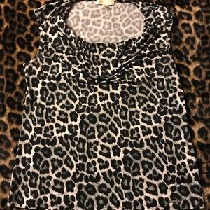 Michael Kors Cow-Neck Blouse - Animal Print Sz. XL